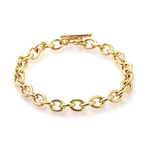 1pcs Golden Cable Chain Bracelet with Toggle Clasp Closure Jewellery Making Chain Bracelet Link 8-5/8Inch