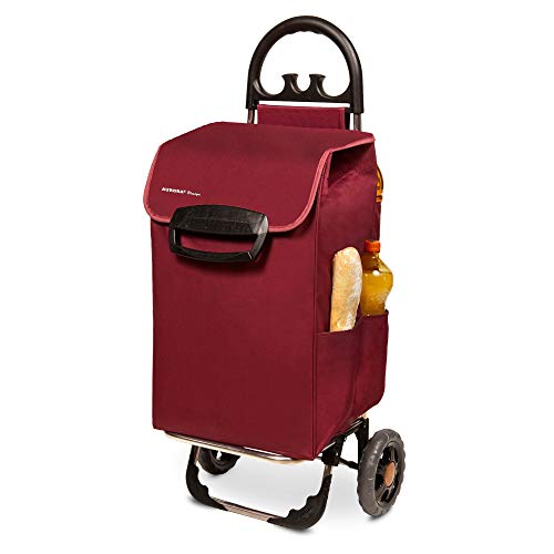 Einkaufstrolley XL Himy Einkaufsroller in bordeaux rot 78L - Shopping Cart leise Gummi Räder bis 50kg inkl. Außentaschen