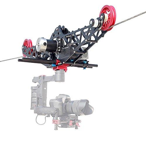 PROAIM Sky-Walker Cinema Cam System do 3-osiowych kamer Gimbals - profesjonalny sprzęt wideo wysokiej jakości, ładowność - 10 kg / 22 funty, maksymalna prędkość - 40 km/h + pilot, lina 100 m walizka na lot (P-SWCC-10)
