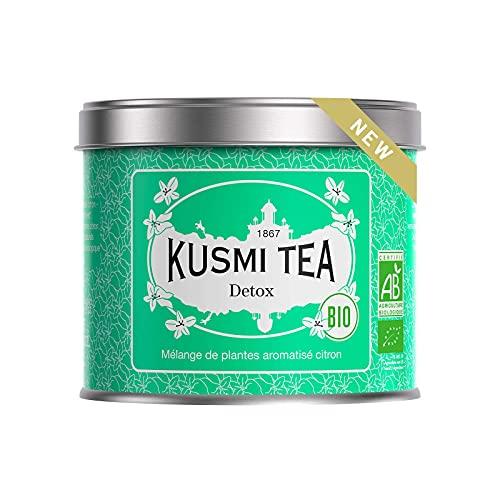 Kusmi Tea - Detox Bio - Thé vert bio, thé maté et mélanges de plantes aromatisé citron - Boîte thé métal 100 g - Environ 40 tasses