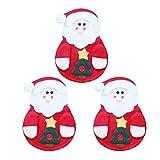 Amosfun Calze per Porta Posate di Natale con 3 Pezzi di Posate da Babbo Natale...