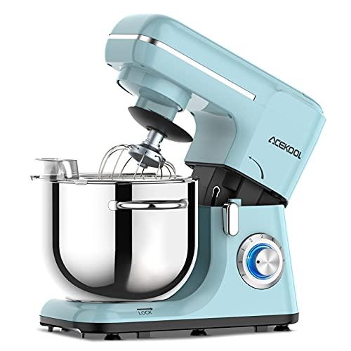 Acekool Küchenmaschine Knetmaschine, 1400W 6L Teigknetmaschine 6 Geschwindigkeit mit Edelstahlschüssel Teigmaschin, Knetmaschine mit Knethaken, Rührbesen, Schlagbesen und Spritzschutz (Blau)