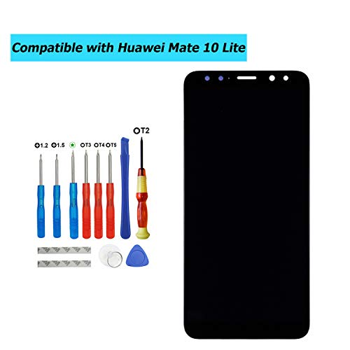 E-YIIVIIL - Pantalla LCD de repuesto compatible con Huawei Mate 10 Lite, RNE-L01, RNE-L21,RNE-L23, pantalla táctil LCD con kit de herramientas (negro sin marco)