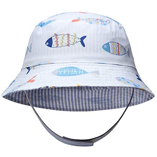 Adorel Sombrero Pescador de Sol Reversible para Bebé Niños Blanco 2-4 Años (Tamaño del Fabricante XL)