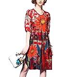 RIZ-ZOAWD Donna Vestito Vintage Stampa Seta Abito Slim Manica Collo a V Casual Party Vestiti (XL, Rosso)