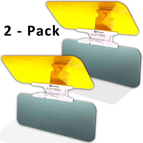 Zento Deals 2 Pack Transparent Windshield Car Sun Visor Day and Night Vision Anti-Glare
