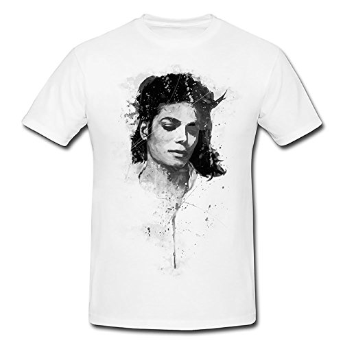 Michael Jackson V T-Shirt Mädchen Frauen, weiß mit Aufdruck