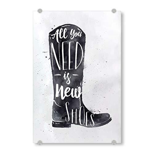 artboxONE Acrylglasbild 150x100 cm Typografie Vintage Boots Bild hinter Acrylglas - Bild Watercolor Shoes Footwear