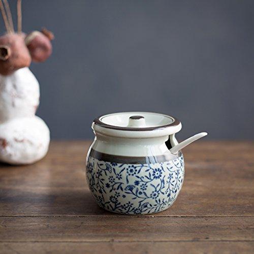 vasi di ceramica condimento salt shaker scatola metallica] Creativo blu e bianco stile giapponese in ceramica ciotola di zucchero sottosmalto includono serbatoio-A