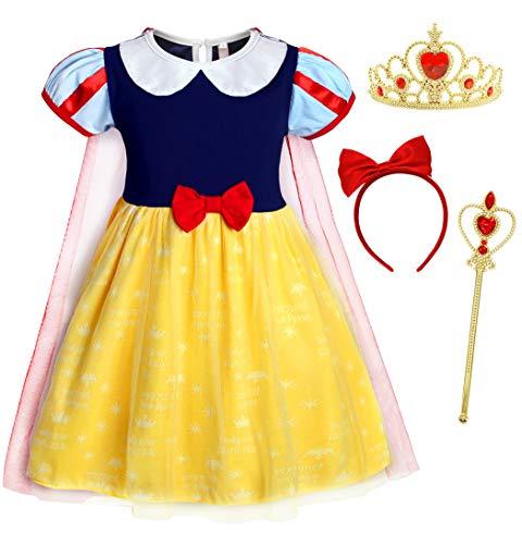 AmzBarley Disfraz Vestido Princesa Blancanieves Niña Tutu Ceremonia,Traje Niña,Disfraz Infantil Fiesta Carnaval Cosplay Halloween con Accesorios, 2-3 Años