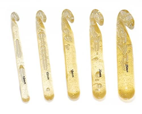 Kit c/ 5 Agulhas Grandes de Crochê Fio de Malha - (12,15,18,20, 25mm)