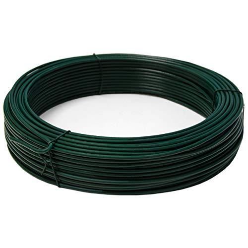 NEXTRADEITALIA CF da 2PZ Filo di tensione diametro Ø 3,1 mm matassa da 100 MT plastificato verde per rete e recinzioni