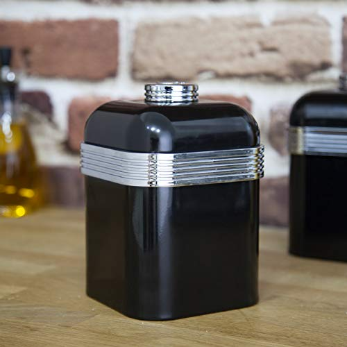 Swan Retro Kitchen Storage Canisters - Black - Set of 3