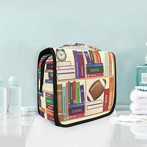 FANTAZIO Kulturtasche multifunktionale Kosmetiktasche Bücherregal Back to School Muster tragbare Make-up-Tasche wasserdicht Reise Hänger Organizer Tasche für Frauen Mädchen