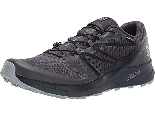 Salomon Men's Sense Ride2 GTX Invisible Fit Trail Running Shoes, Ebony/Black/Quarry, 8
