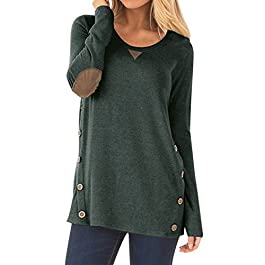 Women's Casual Long Sleeve Loose Tunic Button Blouses Shirt Tops
