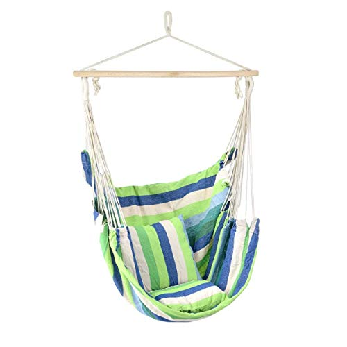 Lelestar grote hangmat schommelstoel, ontspannende outdoor tuinstoel, 2 zachte gevoerde kussens, binnen, buiten, strand streep katoen canvas Groen