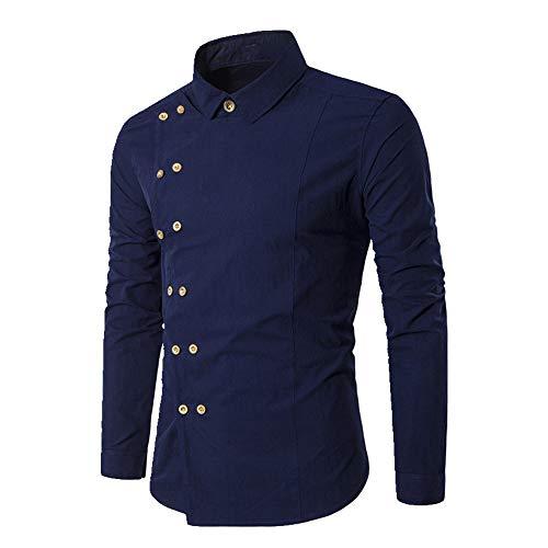 N\P Camisa de hombre casual blanca con doble botón para hombre, corte ajustado, manga larga, camisa de vestir para hombre