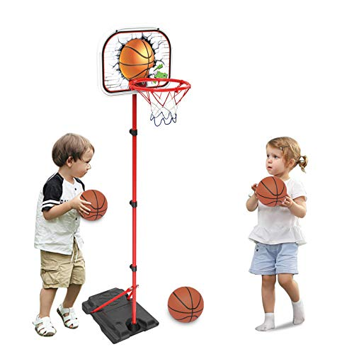 Basketball Hoop for Kids, Indoor Outdoor Basketball Hoop Adjustable Height Portable Basketball Hoop 30-62 Inches Basketball Goal Sport with Ball Pump for Baby Toddler Kids Boys Girls Age 4-8