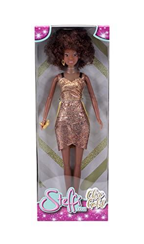 Simba Steffi Love Chic Walk - Muñeca con Vestido de Moda, con Pendientes, cinturón, Bolso y su Perro, 29 cm, para niños a Partir de 3 años