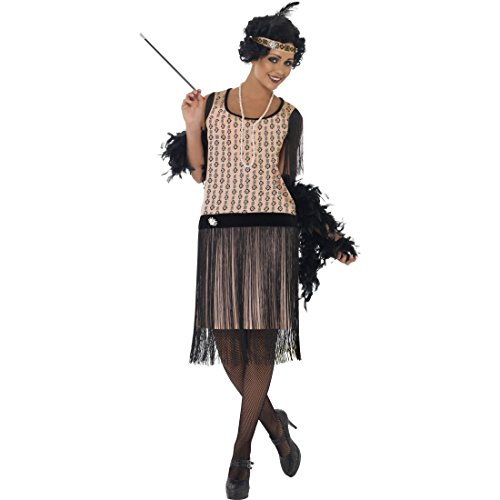 NET TOYS 20er Jahre Kostüm Fransen Charleston Kleid L 44/46 Jazz Cancan Tanzkleid Tänzerin Mafia sexy Damenkostüm Twenties Coco Filmkostüm Gangster Flapper Damenkleid Karnevalskostüme Damen