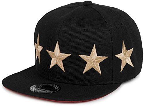 styleBREAKER Snapback Cap 'Stars' im 2-Tone Design, Baseball Cap, Unisex 04023030, Farbe:Schwarz-Gold