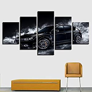 alicefen pour la HD Photo décoration Mur sans Section 5 Morceaux Voiture Noire psychédélique modulaire de la fumée Blanche Affiche Étiquettes Art