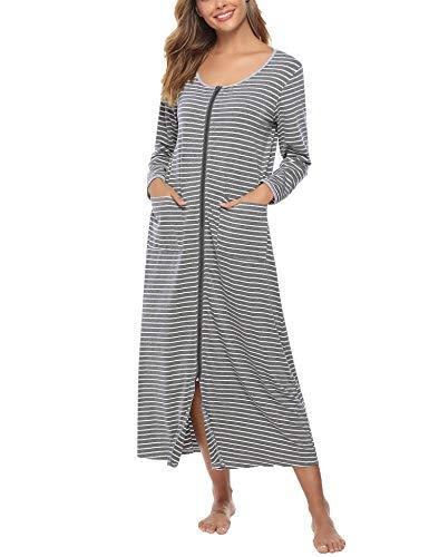 Sykooria Bata de Noche Larga Bata Larga Albornoz para Mujer Camisón con Cremallera Frente Salón Ropa de Dormir de Cuello Redondo con Bolsillo