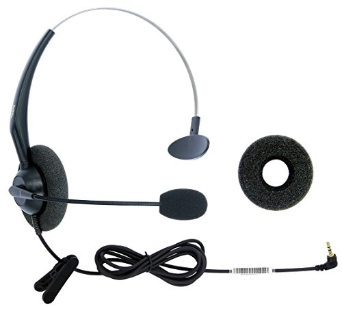 DailyHeadset 2.5 mm Jack Hands Free Headset Over Ear Headphones for Cordless Home Phones Corded Landline Telephones