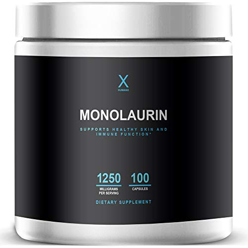 Monolaurin Supplements 1250mg (Gluten Free, Vegan, Non-GMO) - The Ultimate Monolaurin from Natural Coconut Lauric Acid Supplement Pure Monolaurin Capsules - By HumanX