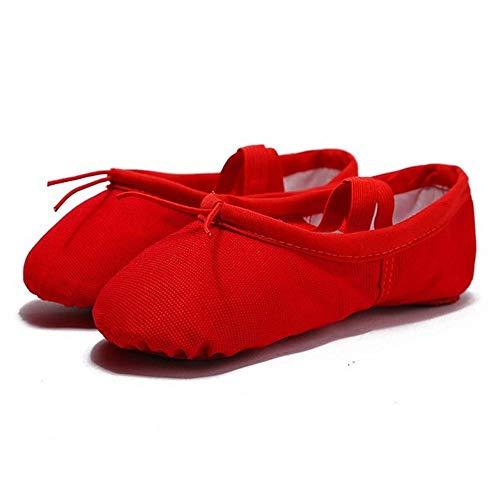QxinjinxYJWA Yoga Zapatos de Baile de Ballet for niñas Las Mujeres del Ballet Zapatos de Lona de niños de los niños (Color : Red, Shoe Size : 5)