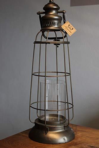 Lanterne en métal avec insert en verre, photophore gris H 53 cm