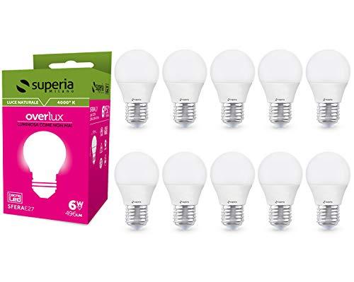 Superia Lampadina LED E27 Sfera, 6W (Equivalenti 40W), Luce Naturale 4000K, 495 lumen, SE27N, Pacco da 10