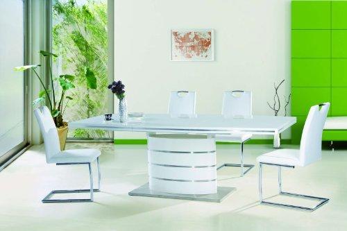 Jadella Essgruppe Tisch + 6 Stühle Hochglanz Weiß Esstisch Fano 90x160x75 ausziehbar auf 220cm Säulentisch