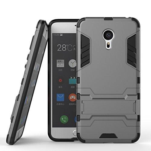 Tasche für Meizu MX 6 Pro Hülle, Ycloud das stärkste Handy Shock Proof Armor Dual Schutzabdeckung Hochfeste PC Kunststoffoberschale Shockproof mit Halterung Schutzabdeckung Grau