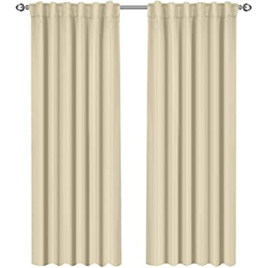 Utopia Bedding Blackout Room Darkening and Thermal Insulating Window Curtains/Panels/Drapes - 2 Panels Set - 7 Back Loops per Panel - 2 Tie Backs Included (Beige, 52 x 84)