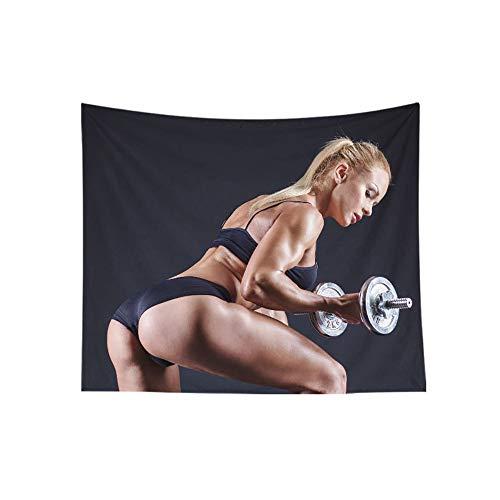 Tapiz Fitness Series Tapestries para mujer Tapastro Colgantes de la Pared de la Decoración del Hogar Adecuado para Gimnasio Dormitorio Dormitorio Luz Negra Póster 0628, D, 150×200cm