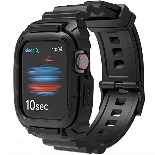 Kompatibel mit Apple Watch Armband 44mm 42mm mit Bumper, Loxoto Rugged Protective Drop Shock Resistant Schutzhülle mit TPU Apple Watch Band Fit für iWatch6/SE/5/4/3 Männer Frauen Sport Military Style