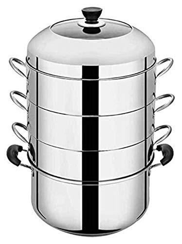 GJP Juego de sartenes para cocinar al Vapor sin Recubrimiento con Fondo Compuesto vapores de Acero Inoxidable Placa de inducción a Gas Olla Universal 1231 (tamaño: 30 cm)