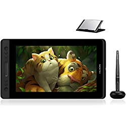 HUION Kamvas PRO 13 HD 13.3 in Tablet Monitor con Funzione di inclinazione Penna Senza Batteria con sensibilità 8192 alla Pressione e 4 Tasti Express 1 Touch Bar Tavoletta Grafica con Display