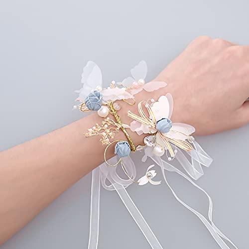 baidicheng Flor de muñeca mariposa joyería de dama de honor flor perlas de cristal cinta muñeca ramillete para novia boda mujer vestido de fiesta decoración de mano joya (color: estilo 2)