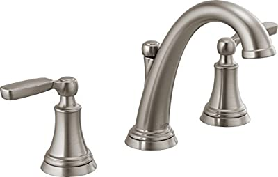 Delta Faucet Woodhurst Widespread Bathroom Faucet Brushed Nickel, Bathroom Faucet 3 Hole, Bathroom Sink Faucet, Metal Drain Assembly, Stainless 3532LF-SS