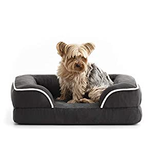 BrindleOrthopedic Memory FoamPet Bedwith Wrap Around Bolster– Plush Dog and Cat Bed–Removable VelvetCover, Medium, Charcoal