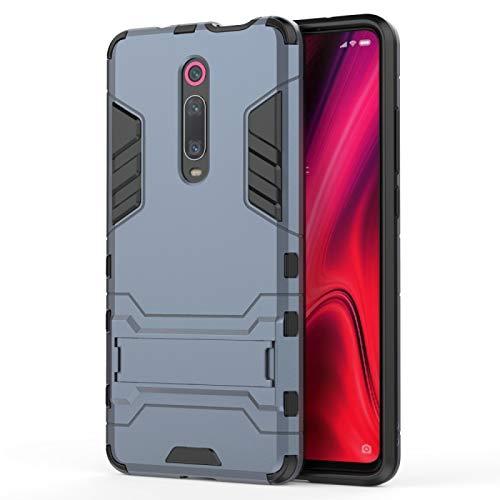 Liluyao Funda telefónica para Xiaomi Funda PC TPU a Prueba de Golpes para Xiaomi Mi 9T / Redmi K20, con Soporte (Color : Navy Blue)