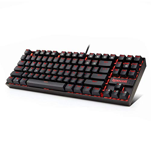 Redragon K552 60% Mechanical Gaming Keyboard Compact 87 Key Mechanical Computer Keyboard KUMARA USB Wired Cherry MX Blue Equivalent Switches for Windows PC Gamers (Black RED LED Backlit)