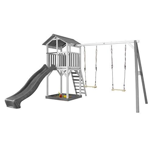AXI Beach Tower Spielturm aus Holz in Weiß & Grau | Spielhaus für Kinder mit grauer Rutsche, Doppelschaukel und Sandkasten | Stelzenhaus für den Garten
