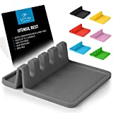 Silicone Utensil Rest with Drip Pad for Multiple Utensils, Heat-Resistant, BPA-Free Spoon Rest & Spoon Holder for Stove Top, Kitchen Utensil Holder for Spoons, Ladles, Tongs & More - by Zulay