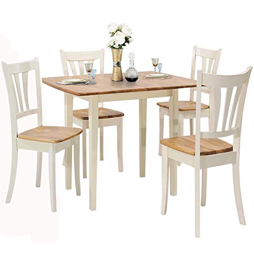 Giantex 5-Piece Dining Table Set with Folding Tabletop, Wood Kitchen Table and 4 Chairs Set, Modern Extendable Dining Table 31.5 Inch to 42 Inch, Compact Dinette Set for Small Space, Apartment