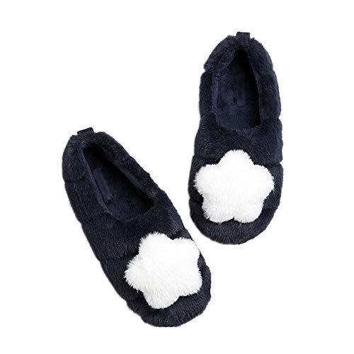 Zapatillas Antideslizantes Estrella De Cinco Puntas Puntas Cálidas Zapatos Algodón Zapatos Para Hogar Zapatillas Casa Mujer Antideslizante Cálido Zapatos Pantuflas Cómodas Suave Slippers,Azul,36/37 EU