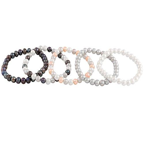 Bella Pearls set di 5Bracciali Elastici multicolore con perle d'acqua dolce, lunghezza 18cm